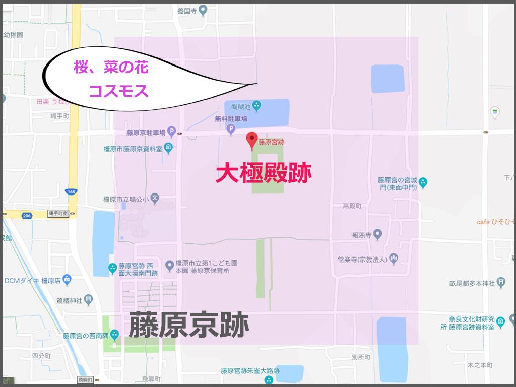 藤原京跡、地図